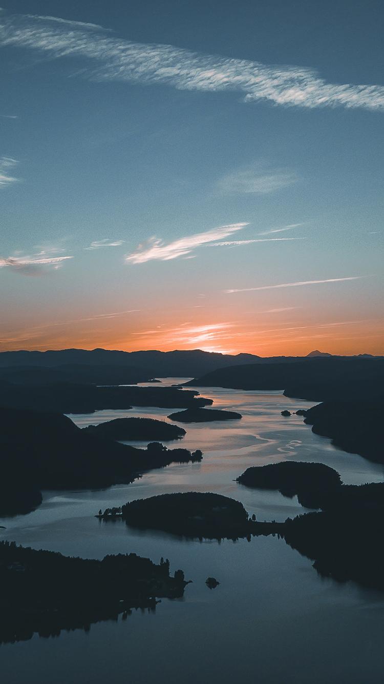 河流 蜿蜒 曲线 日落