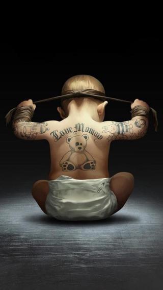 小孩 背影 纹身 宝宝