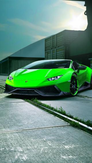 绿色 跑车 兰博基尼
