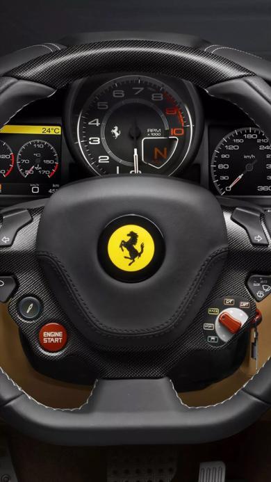 法拉利 跑车 方向盘 测速表