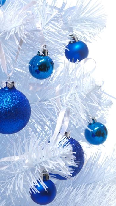 圣诞 白色 小球 蓝色 礼物