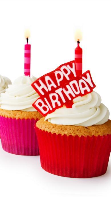 生日快乐 蛋糕 面包 蜡烛 奶油