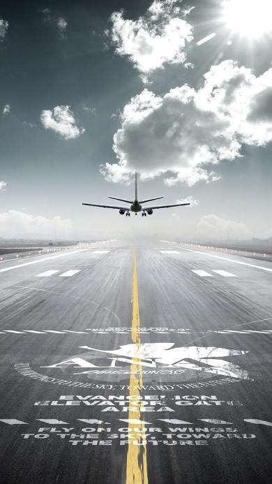 飞机 机场 蓝天 白云 跑道 起飞 阳光