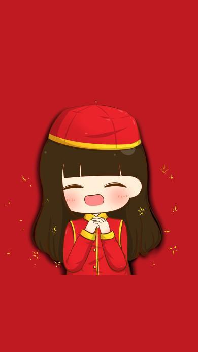 女生 红色 节日 拜年 喜庆