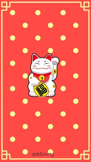 红色 波点背景 招财猫