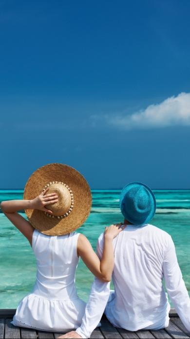 大海 帽子 蓝天 爱情