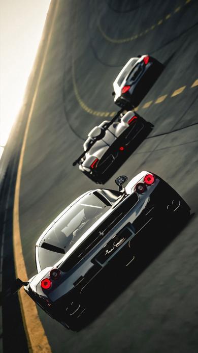 法拉利 跑车 跑道  黑色 超跑