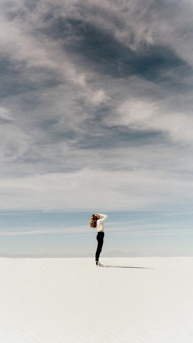 风景 美女 远眺 远景 白云