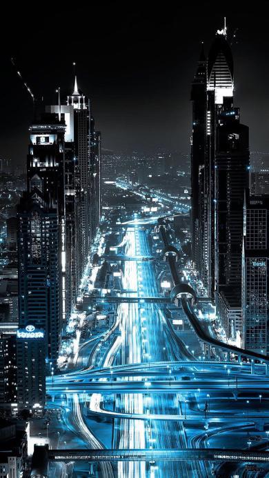 城市夜景 蓝色 黑色 繁华 都市