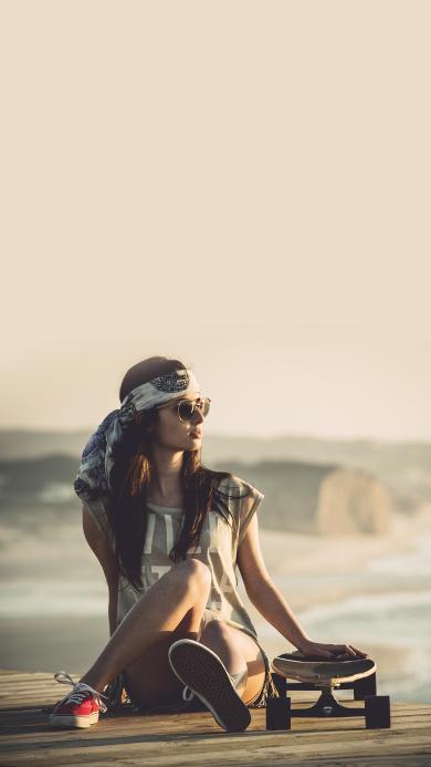 滑板 美女 欧美 运动 墨镜