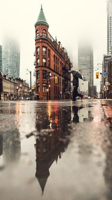 街道 街边 积水 城市 建筑 雾