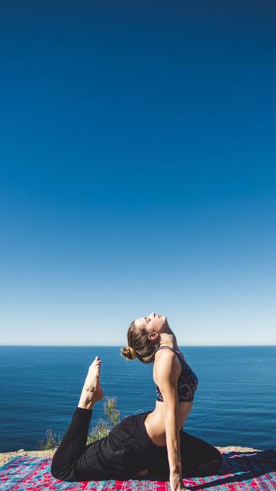 瑜伽 运动 健身 美女 海滩