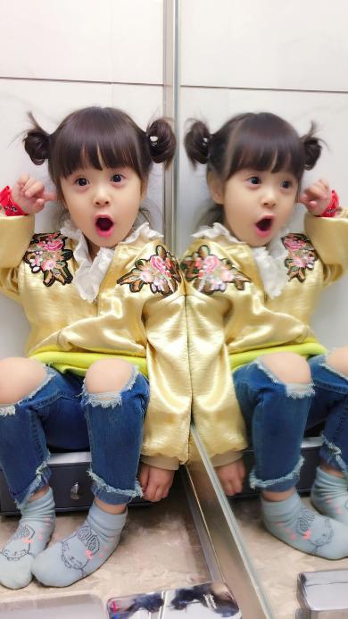 哈琳 小天使萌娃 可爱 镜面反射