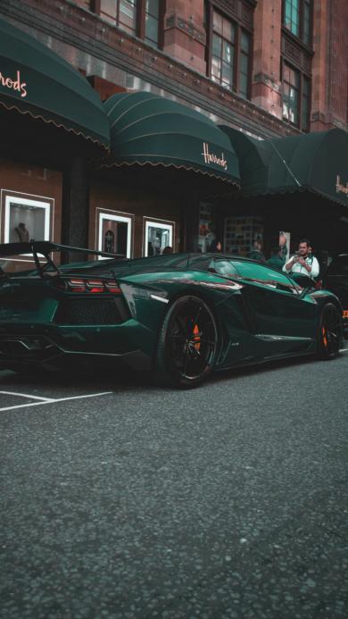 兰博基尼 绿色 跑车 超跑 街道