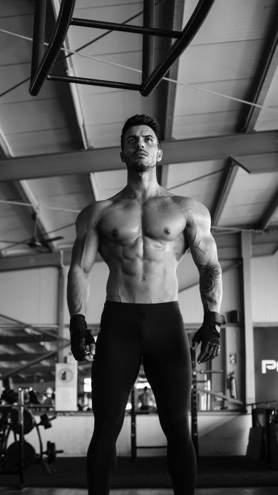 健身 肌肉 型男 黑白 运动