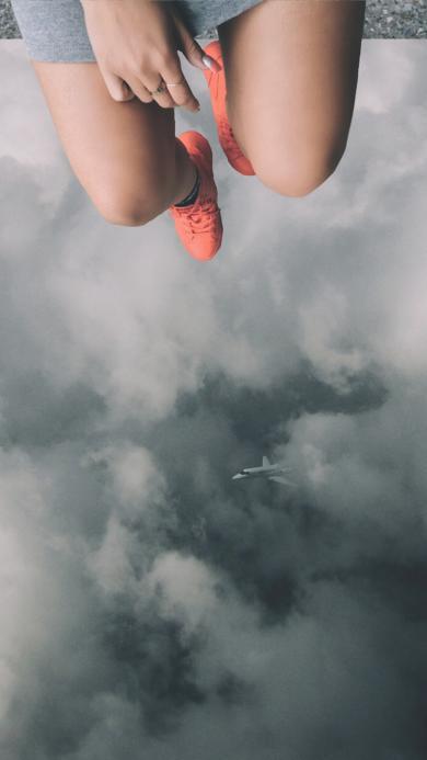 云层 天空 女生