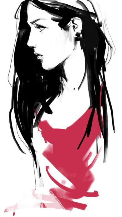 插画 手绘 女生 红色