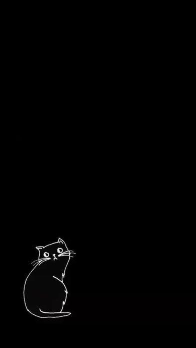 卡通 猫咪 简约 动漫 黑色