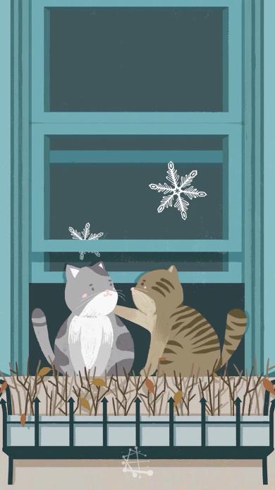 猫咪 手绘 插画 窗台 雪花