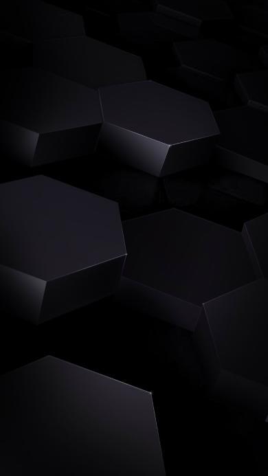 炫酷黑 六角形 纯色壁纸
