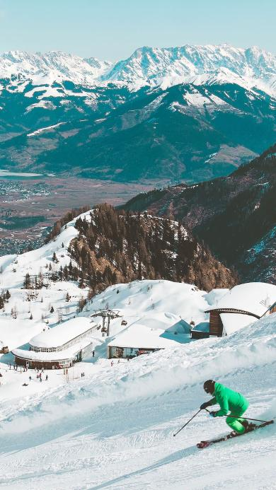 极限运动 滑雪 雪山雪景
