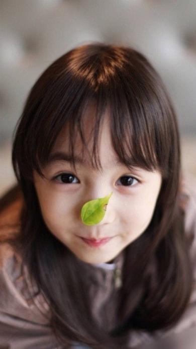 女孩 可爱 树叶 小美女