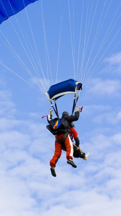 跳伞 极限运动 蓝天白云 天空