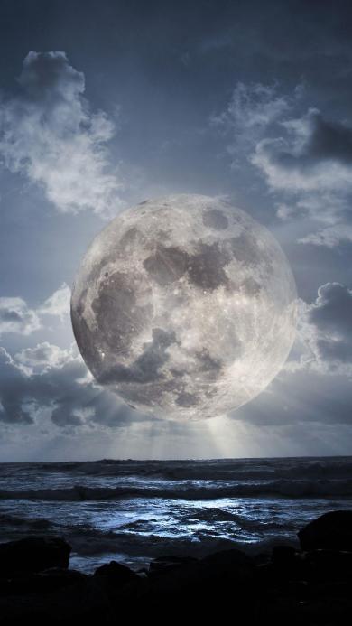大海 月球 云朵 创意
