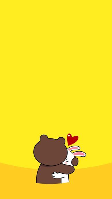 line 可妮兔 布朗熊 爱情 爱心 黄色 拥抱