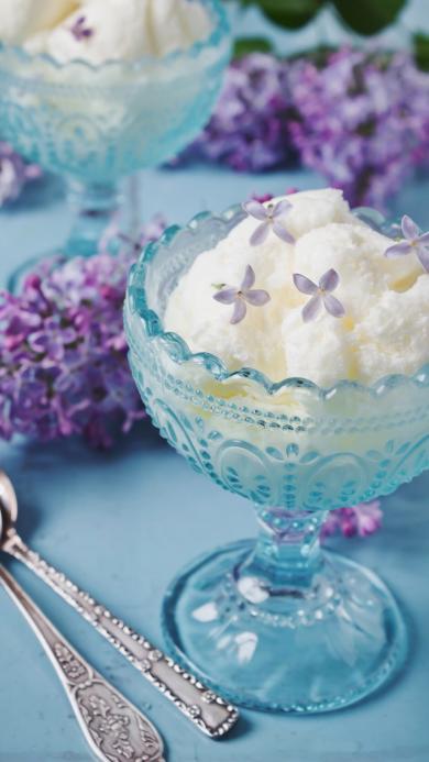 清爽 酸奶冰沙 小花朵 装饰