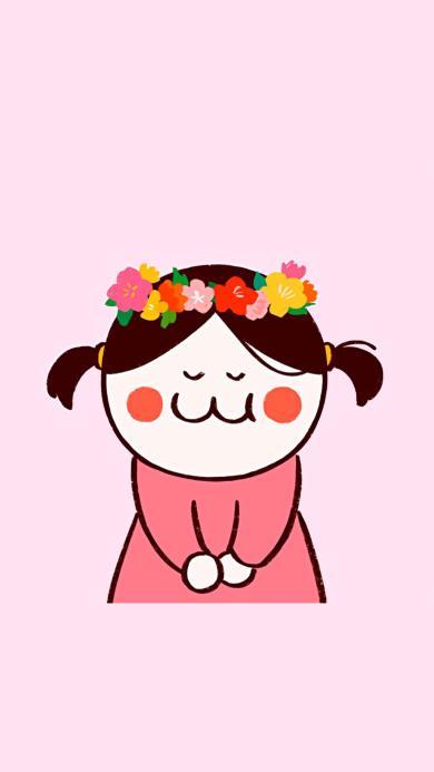 后田花子 粉色 女孩 花环 可爱 小辫子