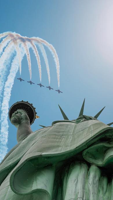 战斗机 烟雾 航空 飞行 自由女神