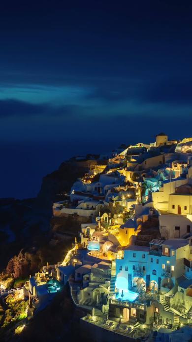 希腊 圣托里尼岛 大海 希腊 夜 灯光 旅游