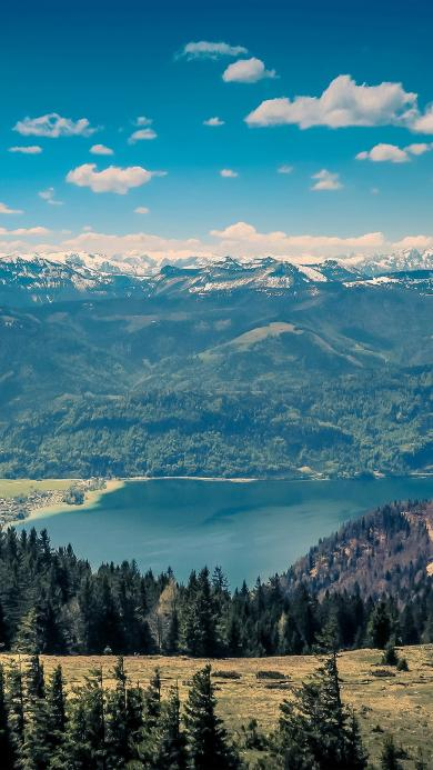 山水 湖水 雪山 蓝天白云 树林 大自然 风光