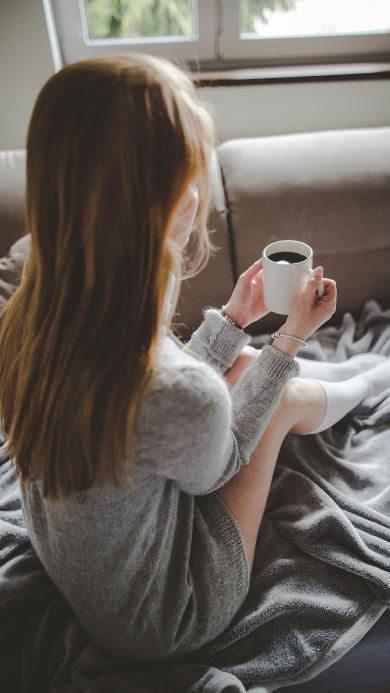 早晨 早安 女孩 床 阳光 窗 咖啡 背影 长发 欧美