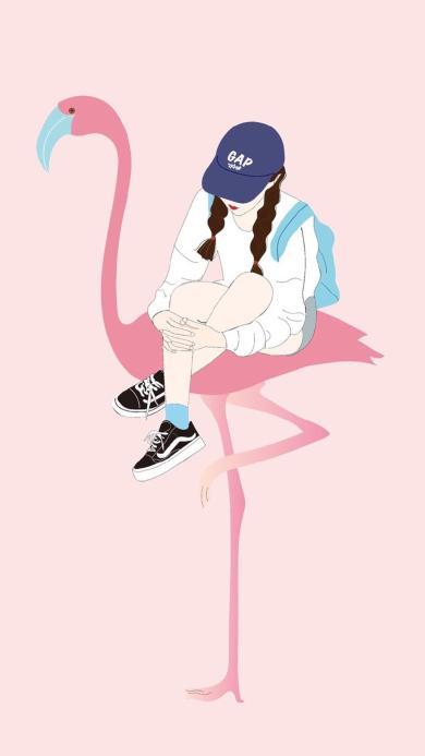 粉色背景 卡通少女 火烈鸟