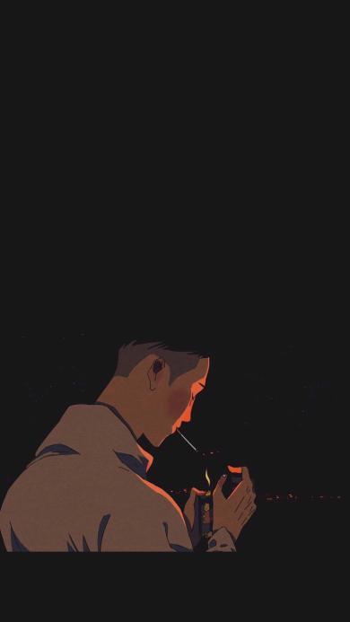 黑色背景 抽烟男生