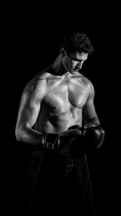 欧美型男 拳击 黑白