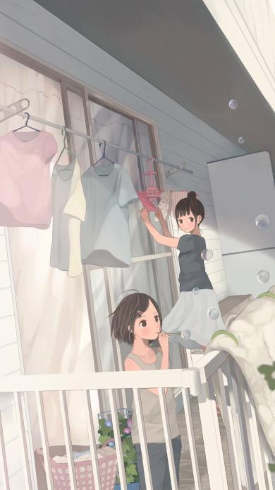 阳台 少女 日本 漫画 卡通二次元