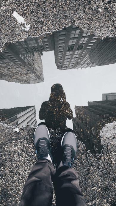 摄影 倒影 男孩 城市 建筑 积水