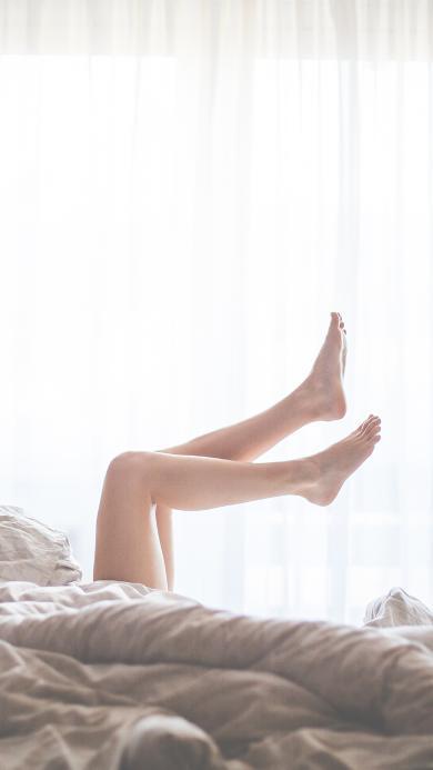 长腿 性感 美女 躺 床 早晨 唯美
