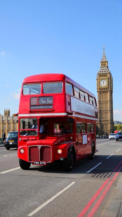 英国 伦敦 大本钟 红色巴士 街道 车辆 城市