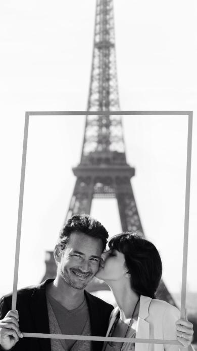 情侣 欧美 法国 爱情 亲吻 相框 埃菲尔铁塔 浪漫
