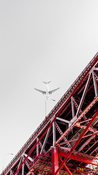 飞机 钢架桥 天空 色彩