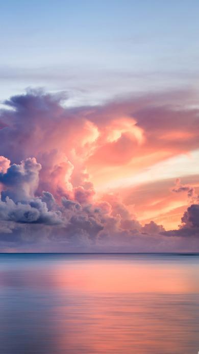 云彩 日落 海平面  风景