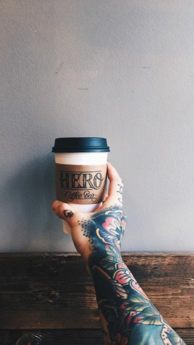 咖啡 饮品 手 纹身 个性