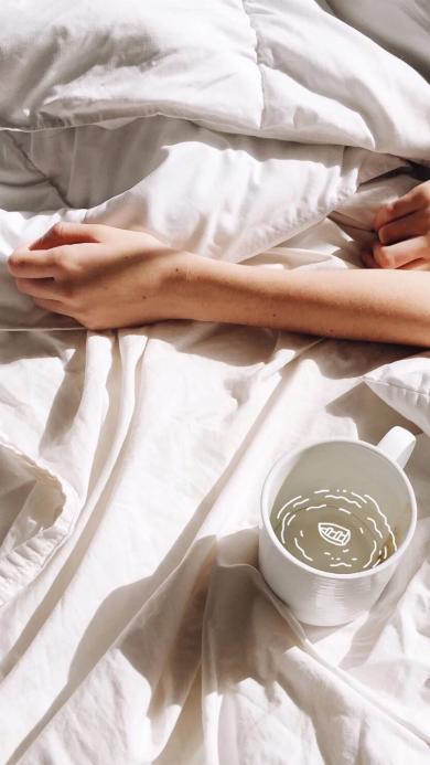 床 杯子 手 清晨 阳光 小船简笔画 白色