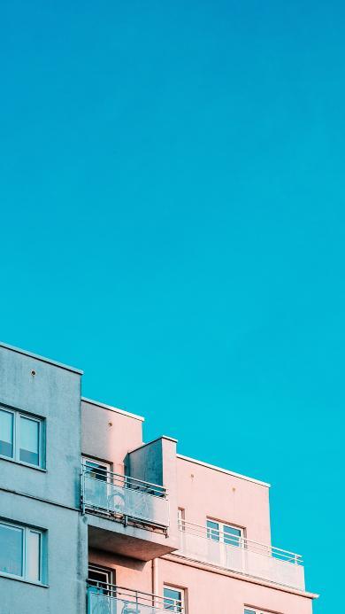 楼房 阳台 蓝天 建筑 窗户