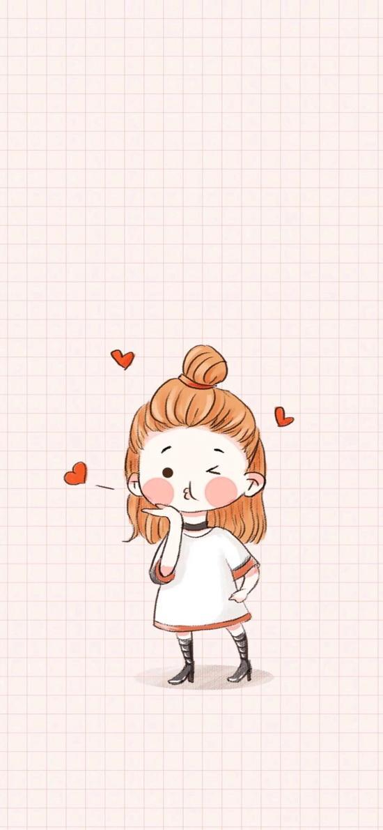 粉色 格子背景 手绘情侣 女孩