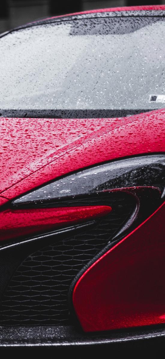 汽车 红色 雨水 车头
